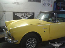 Holbay engined Sunbeam Alpine.complete system including 4 branch manifold. - click to enlarge